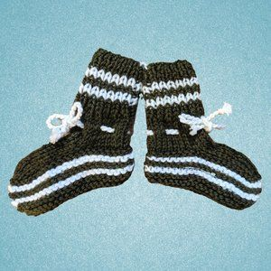 Warm Hand-Knitted Unisex Newborn Baby Brown Socks